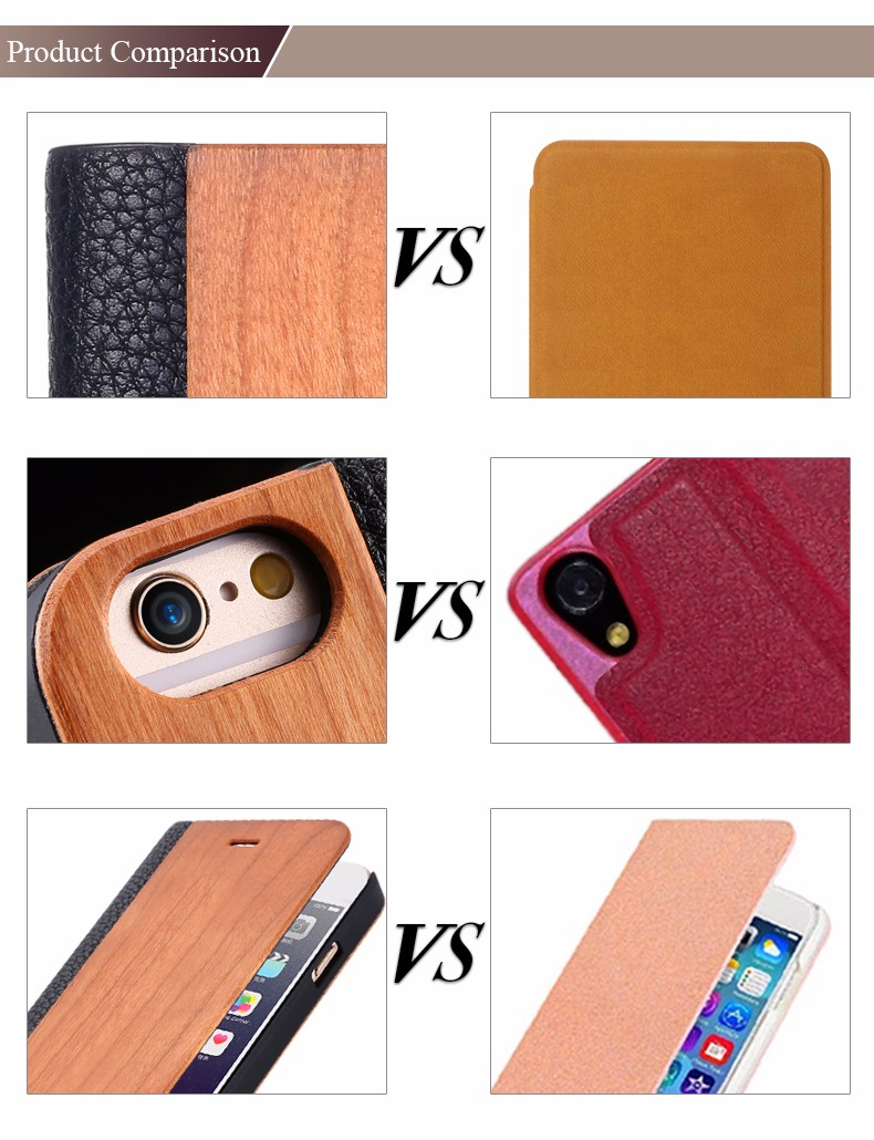 Vintage Genuine Bamboo Wood Flip Leathe Case For iPhone 6 6S Plus Real Rosewood Wooden Wallet Cover For iPhone 7 7 Plus Card Slot  (7)