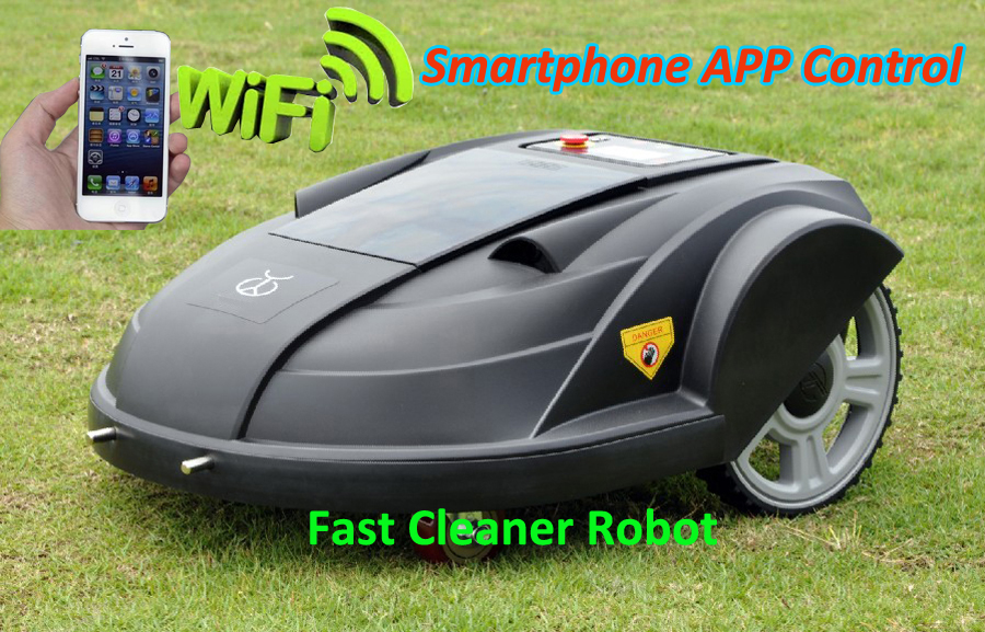 Newest WIFI APP Smartphone Wireless Remote Control Lawn Mower Robot with Water-proofed Charger,Range,subarea,Compass functions(China (Mainland))