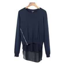 Othermix 2016 new Women Pullovers sweater knit stitching Chiffon female Knitted Casual sweater(China (Mainland))