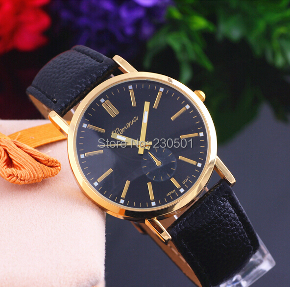 2014 new fashion belt simple business casual GENEVA brand watches men Lowest price Limited Time Wristwatch(China (Mainland))