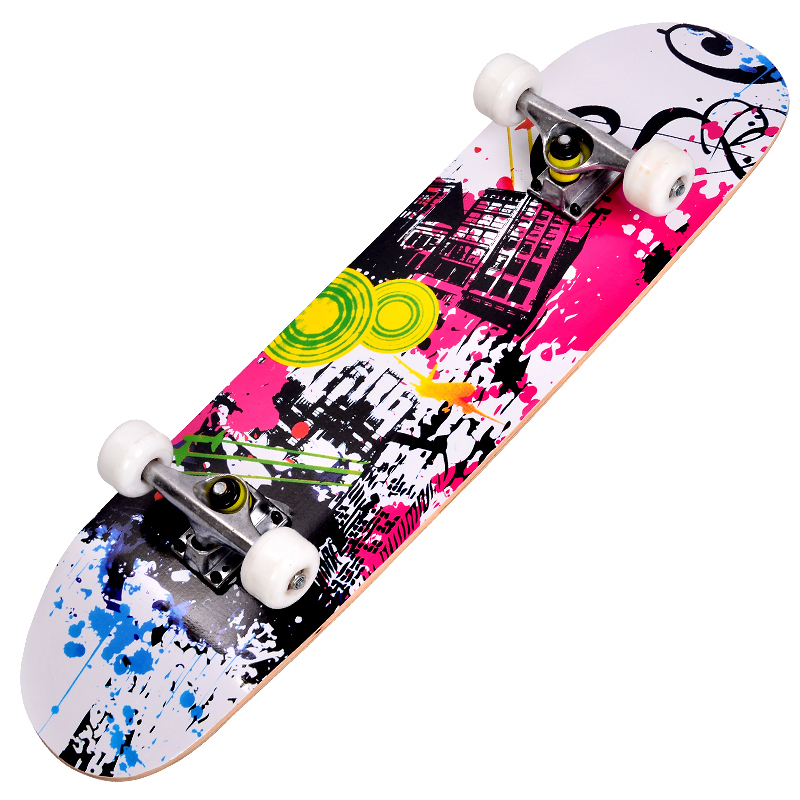 Фотография Professional top quality double up four wheel skateboard with CE certificate for boy and girls longboard with different patterns