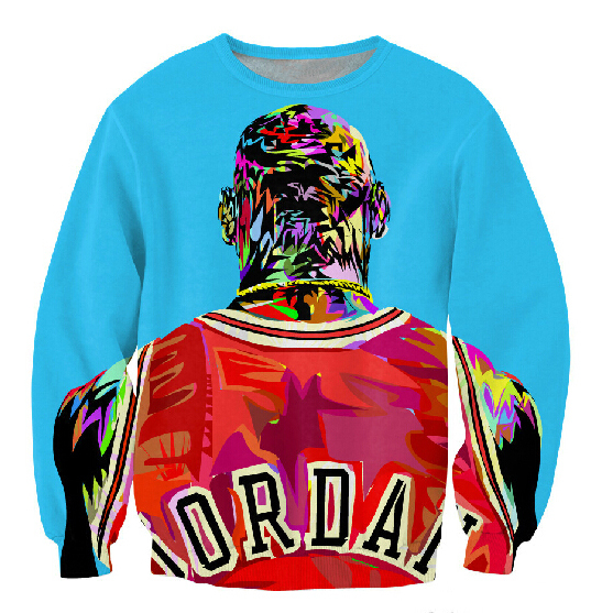Sale!Factory new men/women's 3D pullover hoodie print color painting Jordan sweatshirt long sleeve crewneck casual sweat shirt(China (Mainland))
