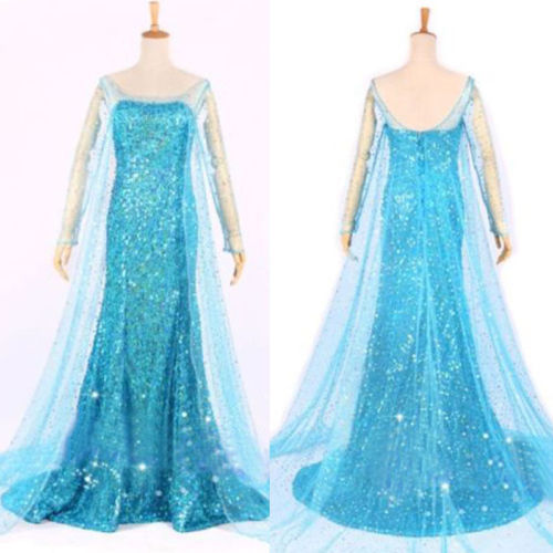 Elsa Queen Princess Adult Women Cocktail Party Dress Costume Elsa Dress(China (Mainland))