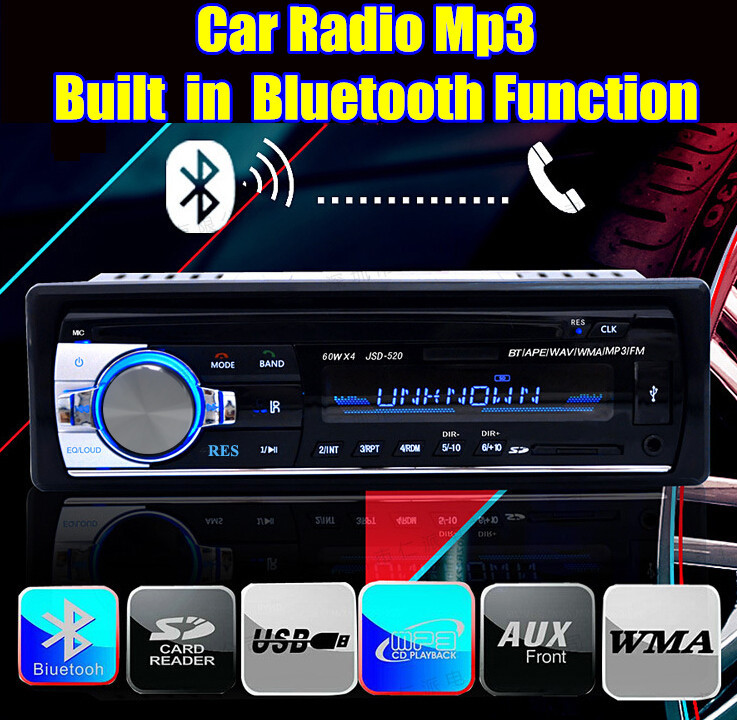 new 12V Car radio player car audio Stereo bluetooth car Radios MP3 Audio USB SD MMC Port Car radio bluetooth In-Dash 1 DIN size(China (Mainland))