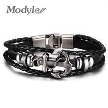 Buy Modyle Fashion Jewelry Multilayer Stainless Steel Anchor Bracelet Women Leather Bracelets & Bangles Men Jewelry for $2.99 in AliExpress store