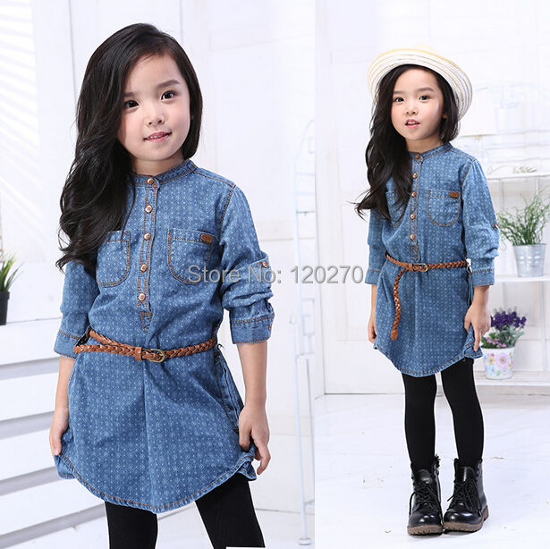 Free Shipping Spring Autumn Baby Girls Long-sleeve Dress Toddler Kids T-shirt Dress Children's One-Piece Dress Kids Garments(China (Mainland))