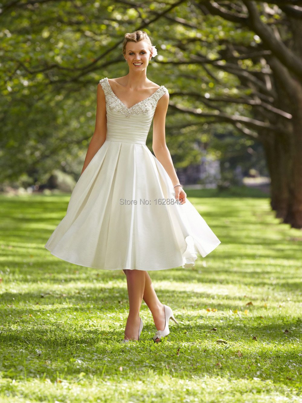 Free shipping short wedding dress robe de mariage romantic for Cheap beach wedding dress