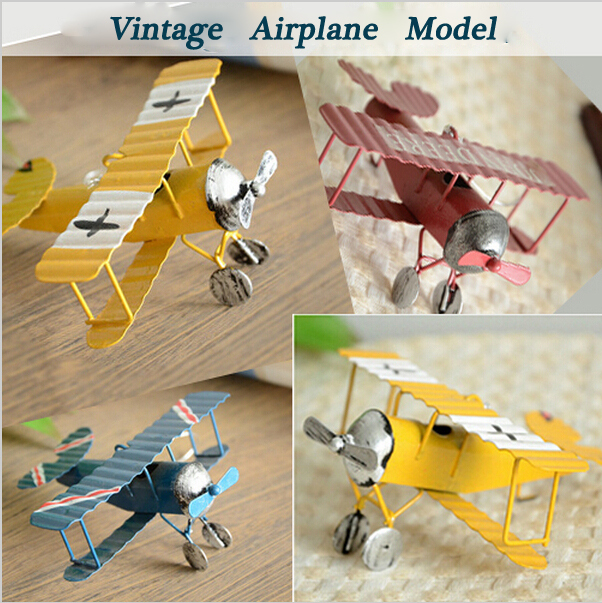 3pc/Lot Vintage Metal Planes Model Iron Retro Aircraft Glider Biplane Pendant Model Airplane kids Toy Home Christmas Decoration(China (Mainland))