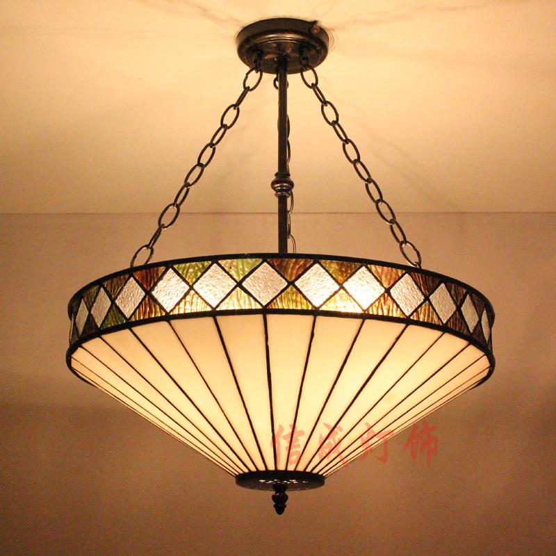Simple anti- retro Mediterranean colored glass chandelier 50cm villa living room bedroom den restaurant bar shop(China (Mainland))