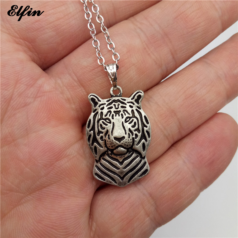 Elfin Wholesale 2017 Trendy Tiger Necklace Antique Silver Plated Animal Jewellery Tiger Pendant Necklace Women steampunk(China (Mainland))