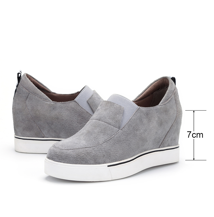 New Women Height Increasing Loafers Flats Shoes Woman Real Genuine Leather Casual Flats Heels Women Fashion Shoes Casual Canvas<br><br>Aliexpress