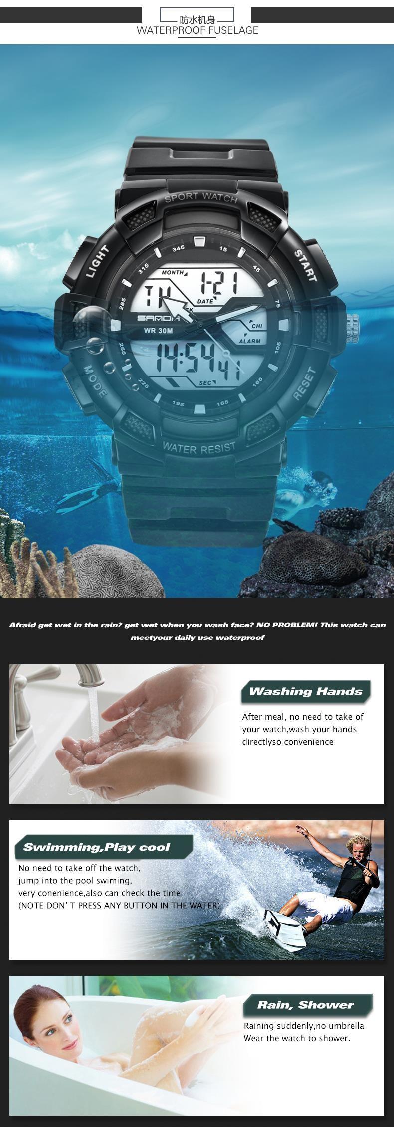 New SANDA Luxury Brand Men Sports Watches Digital LED Quartz Wristwatches Rubber Strap Military Watch relogio masculino