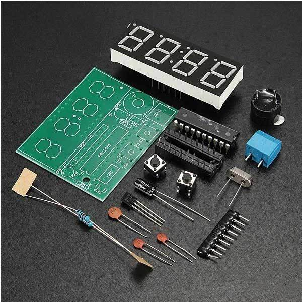 ShipFree C51 4 Bits Electronic Clock Electronic Production Suite DIY Kits(China (Mainland))