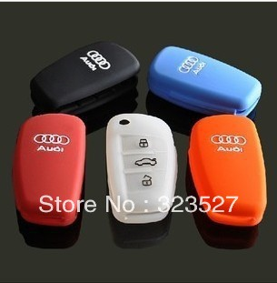100pcs/lot car key case for audi wholesale/silicon rubber casing for Audi key professional supplier opp bag/pc packing(China (Mainland))