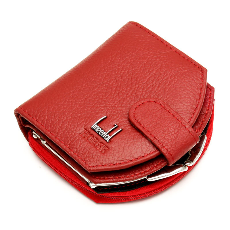 Woman Genuine Leather Wallet Lady Short Mini Wallet Brand Zipper Buckle Purse Women Casual Pocket Coin Holder(China (Mainland))