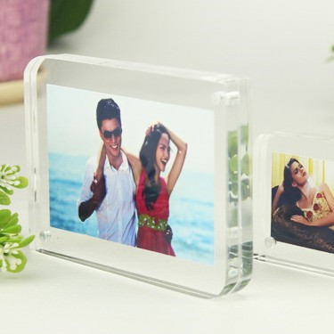 8'' 203x152mm Acrylic Magnet Photo Frame Thickness 10+10mm Diagonal Arc Design Clear Crystal Picture Frame Home Decor(China (Mainland))