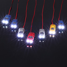 Painted Head Light Model Car with Wire Miniature Damara 10 Pcs 1:150 Scale Train Layout Flaring Light Model Cars Vehicles(China (Mainland))