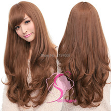 Soft Degre Hair Sexy Fashion 4Colors Long Wave Lady's Synthetic Hair Wig Full Lace Cosplay Wig FreeGift Wig Cup for FreeShipping(China (Mainland))