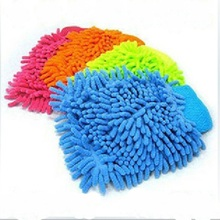 Car Microfiber Vehicle Auto Cleaning Glove Wash Mitten Cloth Washing Mitt Brush PINK BLUE Color Gloves(China (Mainland))