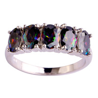 Women Delicate Jewelry Mysterious Rainbow Sapphire 925 Silver Fashion Ring Size 6 7 8 9 10