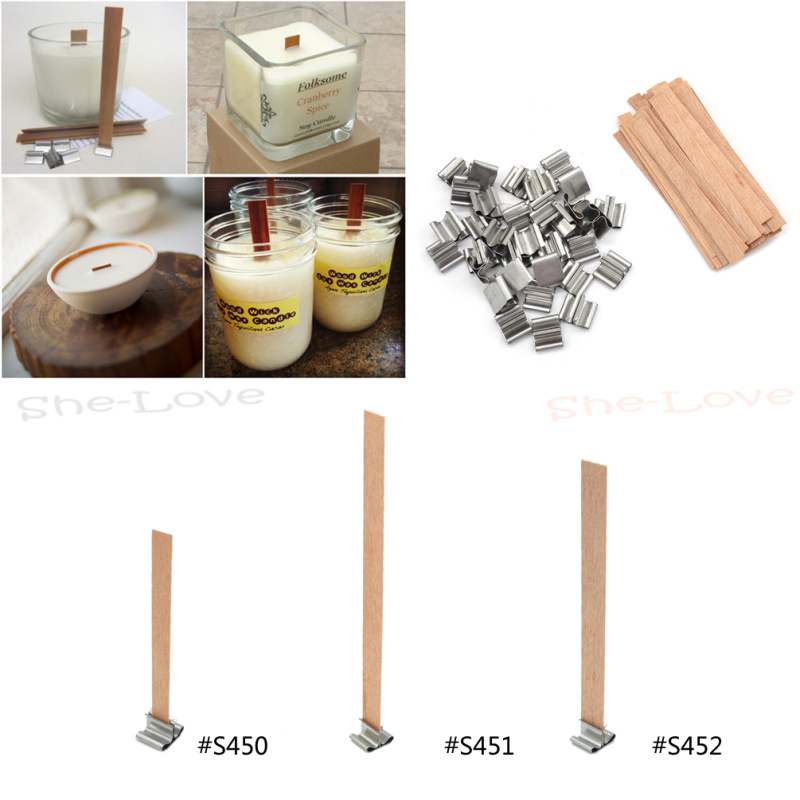 Wood Candle Wicks Diy: 50 Pcs Wooden Wick Candle Core Sustainers Tab DIY Candle