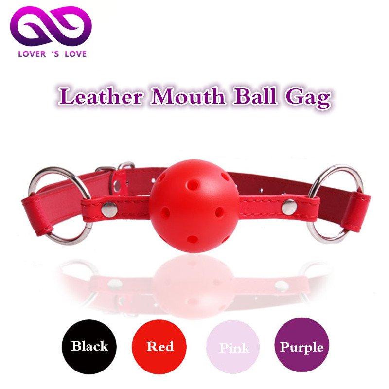 Quality leather Mouth Ball Gag Black red pink ball plug sex toys for women erotic toys adult bdsm Game sex products(China (Mainland))
