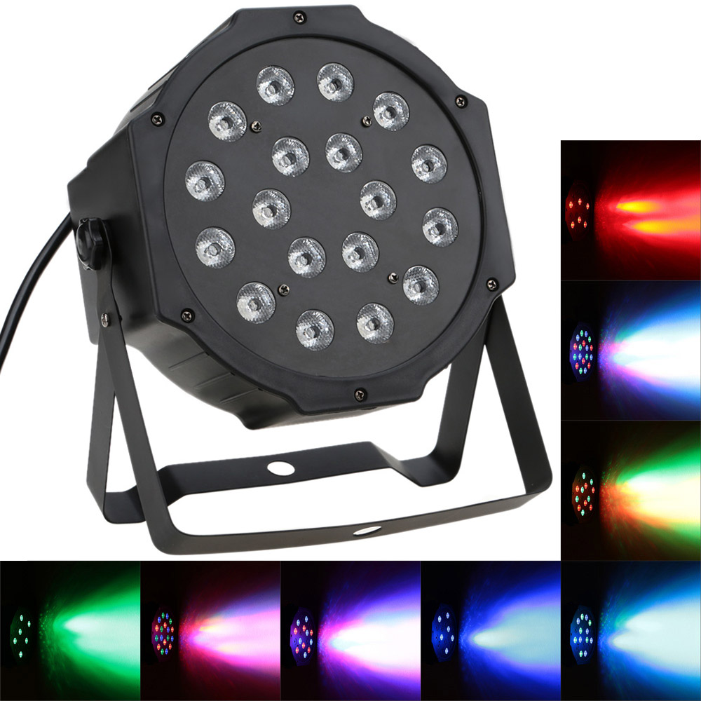 Professional LED Stage Lights 27W 18 RGB PAR LED DMX Stage Lighting Effect DMX512 Master-Slave Led Flat for DJ Disco Party KTV(China (Mainland))