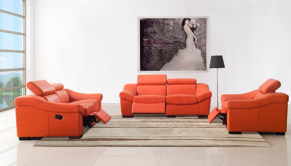 wohnzimmer liege leder:Orange Leather Living Room Furniture