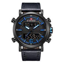 2019 NAVIFORCE nouveaux hommes de mode Sport montre hommes en cuir étanche montres à Quartz mâle Date horloge analogique LED Relogio Masculino(China)