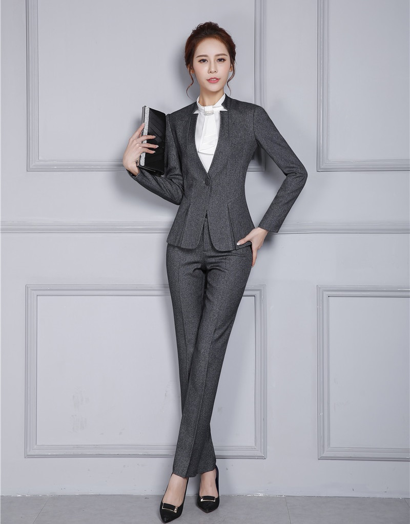 Aliexpress.com  Buy New Style Formal Ladies Grey Blazer Women Business Suits With Pant And ...