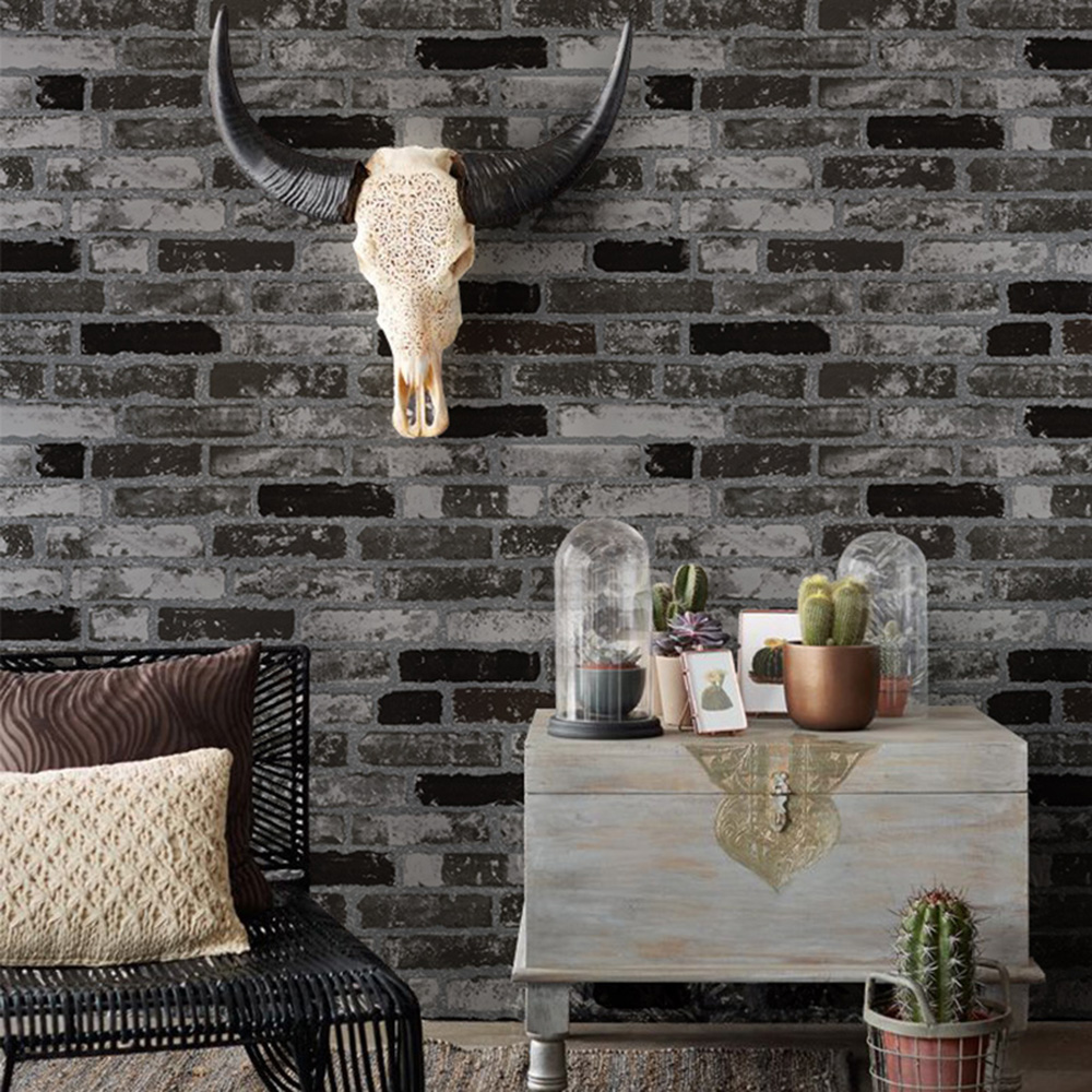 Haokhome modern faux brick wallpaper black white 3d for Black and grey bedroom wallpaper