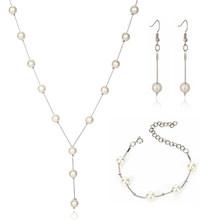 XIYANIKE אופנה זהב כלה תכשיטי סטי מדומה פנינה כלה עגילי ציצית שרשרת המפלגה חרוזים צמיד אביזרי N334(China)