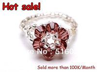 vintage romantic jewelry colorful beads Handmade weave Kid Girls Women Ladies Flower Gift Crystal Finger Beads Jewelry Rings