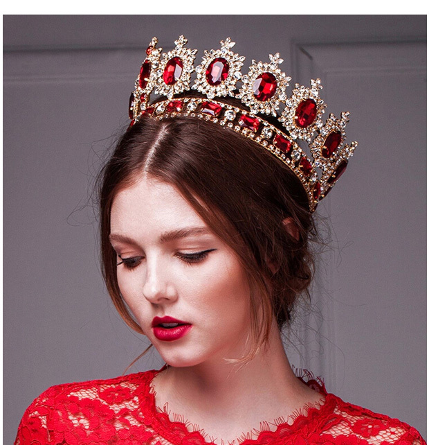 2016 Huge Giant Wedding Bridal Man's Royal 18K Gold Plated Red Crystal Quinceanera Kings Tiaras And Crowns Pageant Headband(China (Mainland))