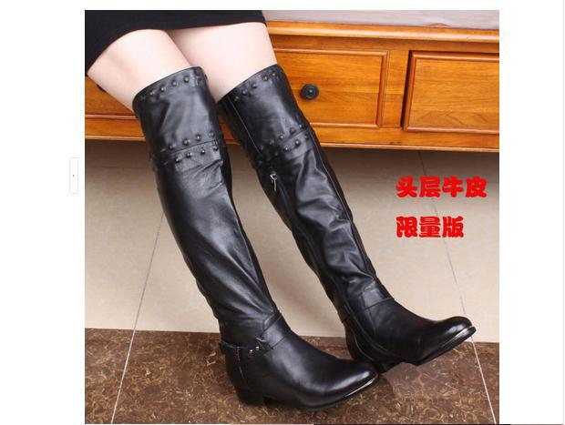 Size 34 35 41 40 In Season Hot Sale Women Winter Boots Girls Genuine Leather Fur One Over-The-Knee Long Boots Small Size 4 5 6