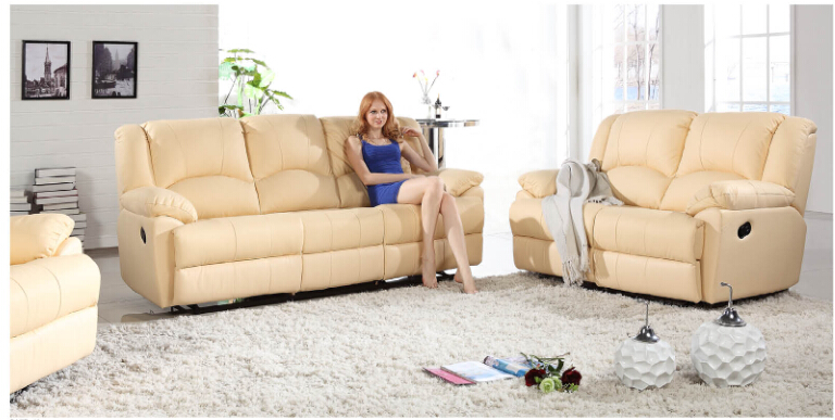 Modern recliner leather sofa set with genuine leather (Manual)(China (Mainland))