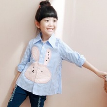 2016 New Arrival Spring Kids Girl Clothes Fashion Striped Character Rabbit Full Sleeve Girls Shirts Children Clothing 3-11Y