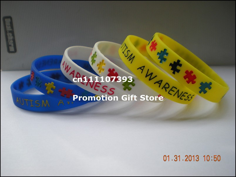 Wholesle 100pcs/Lot Autism Awareness Silicone Bracelets for Charity Function, Adult and Youth Size Multicolours(China (Mainland))