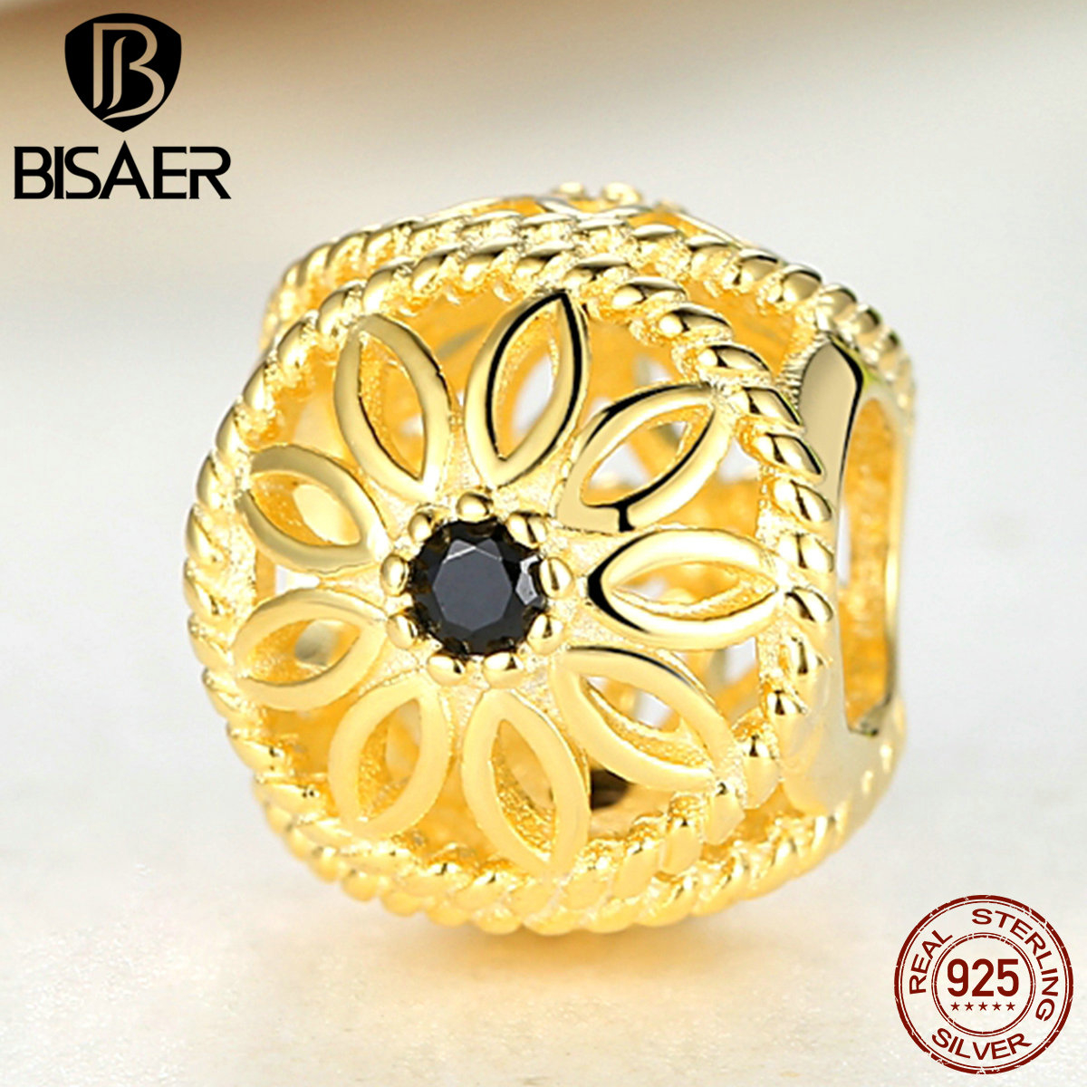 BISAER 925 Sterling Silver Black Spinel 14K Gold Floral Openwork Charm Bracelet Jewelry Accessories(China (Mainland))