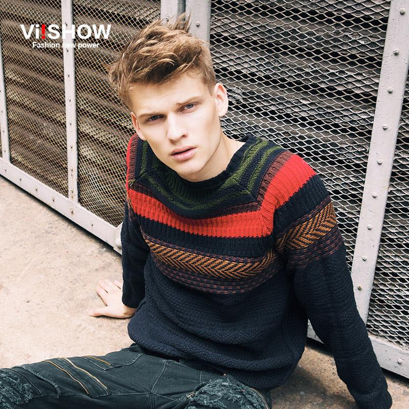 Europe Style Viishow Brand Men Long-Sleeve Sweater Ethnic Fashion Striped Pullover Men's Knitted Sweater Men Slim Fit Pull Homme(China (Mainland))