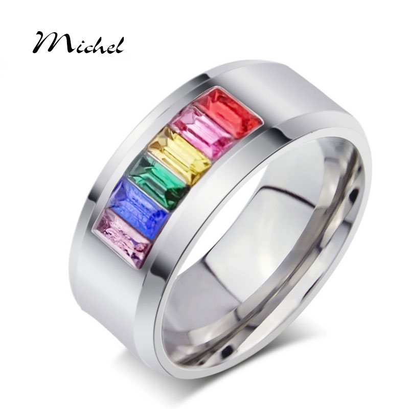 Fashion Multicolor Crystal Ring For Women And Men Stainless Steel Jewerly Promotion Wholesale(China (Mainland))