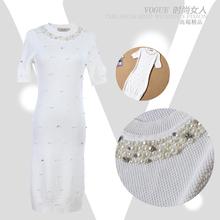 2014 European Fashion High Quality Elastic Dresses Women Luxury Beading Knitted Dress(China (Mainland))