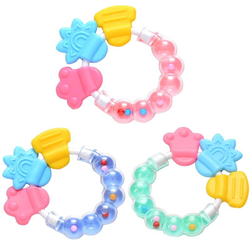 Newborn Comforting Educational Toys Durable Baby Infant Kid Rattles Biting Teething Teether Balls Toys Circle Ring VCI02 P65(China (Mainland))