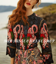 Paris Luxury Brand Multi Swan Print Patchwork Eyelet Silk Dress Womens Animal Print Vintage Floral Print Silk Chiffon Mini Dress(China (Mainland))