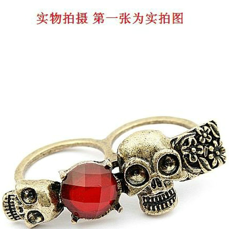 Free shipping 40pcs top gold plated Double skeleton stone Double refers to the ring alloy rings unisex punk fashion hot gift<br><br>Aliexpress