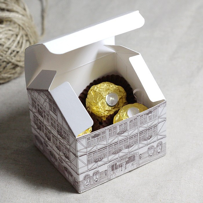 Free Shipping 100pcs wedding chocolate sweet paper boxes. candy ferrero rocher container packaging(China (Mainland))