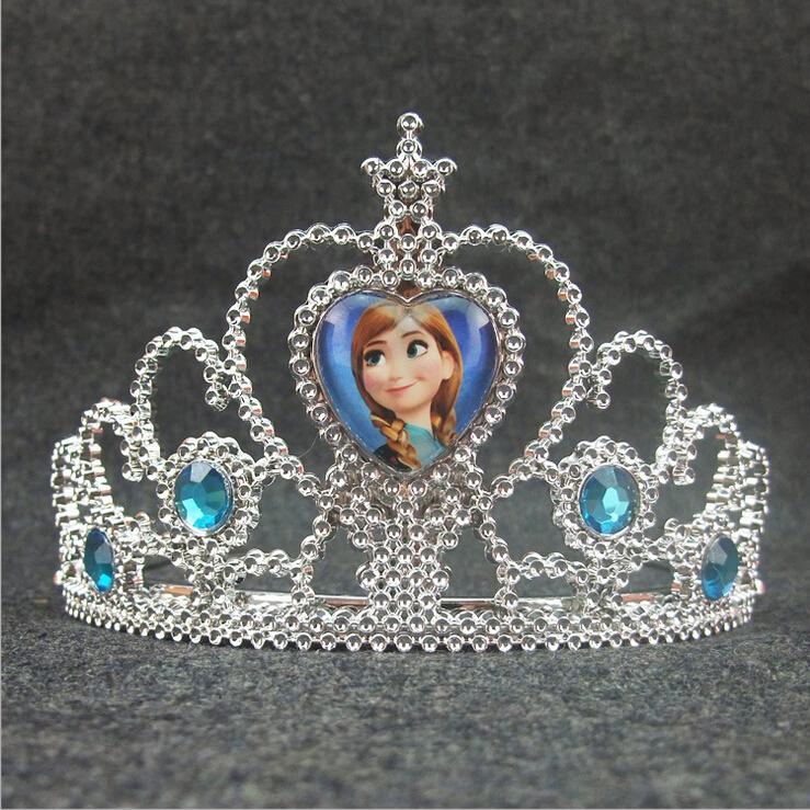 Elsa Crown For Girls Princess Anna Crown Girls Hair Accessories Kids Tiara Cosplay Crown As Celebration Birthday Gifts(China (Mainland))