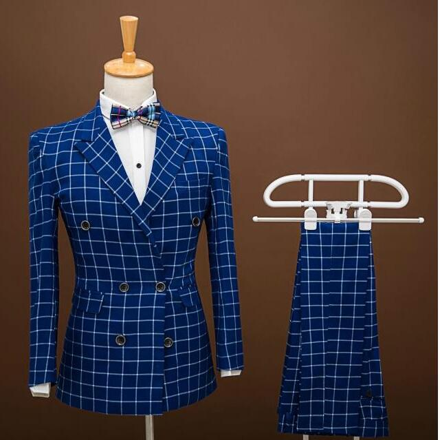 TOP Quality Fashion Men Suits Prom Blazers Slim Fit Double Breasted Blue Grid Groom Wedding Dress Male Tuxedo Jacket+pants(China (Mainland))