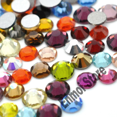 1000pcs ss3(1.3-1.4mm) mix color nail art flat back glass glitter loose crystal rhinestones for decoration (10colors)(China (Mainland))