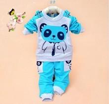 Girls and Boys Suit Baby Panda Cartoon Casual Long-Sleeved Striped T-Shirt + Pants Set Kids Set
